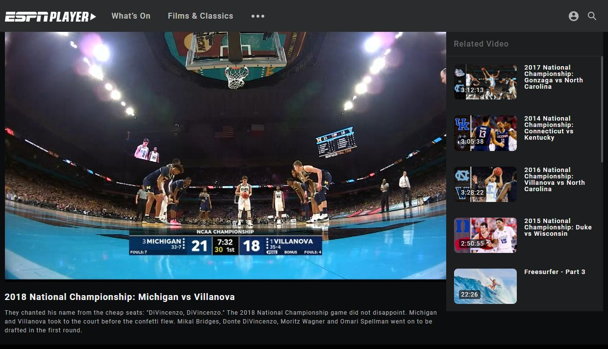 NCAA Streaming ESPN Player