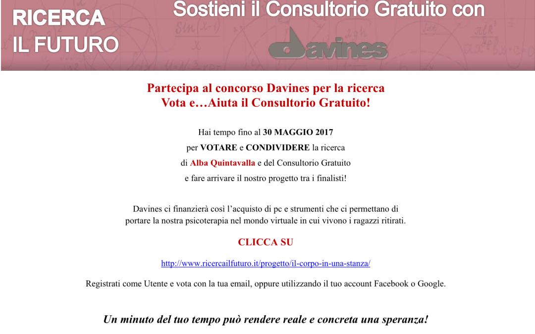 Aiuta il Consultorio Gratuito partecipando al concorso Davines