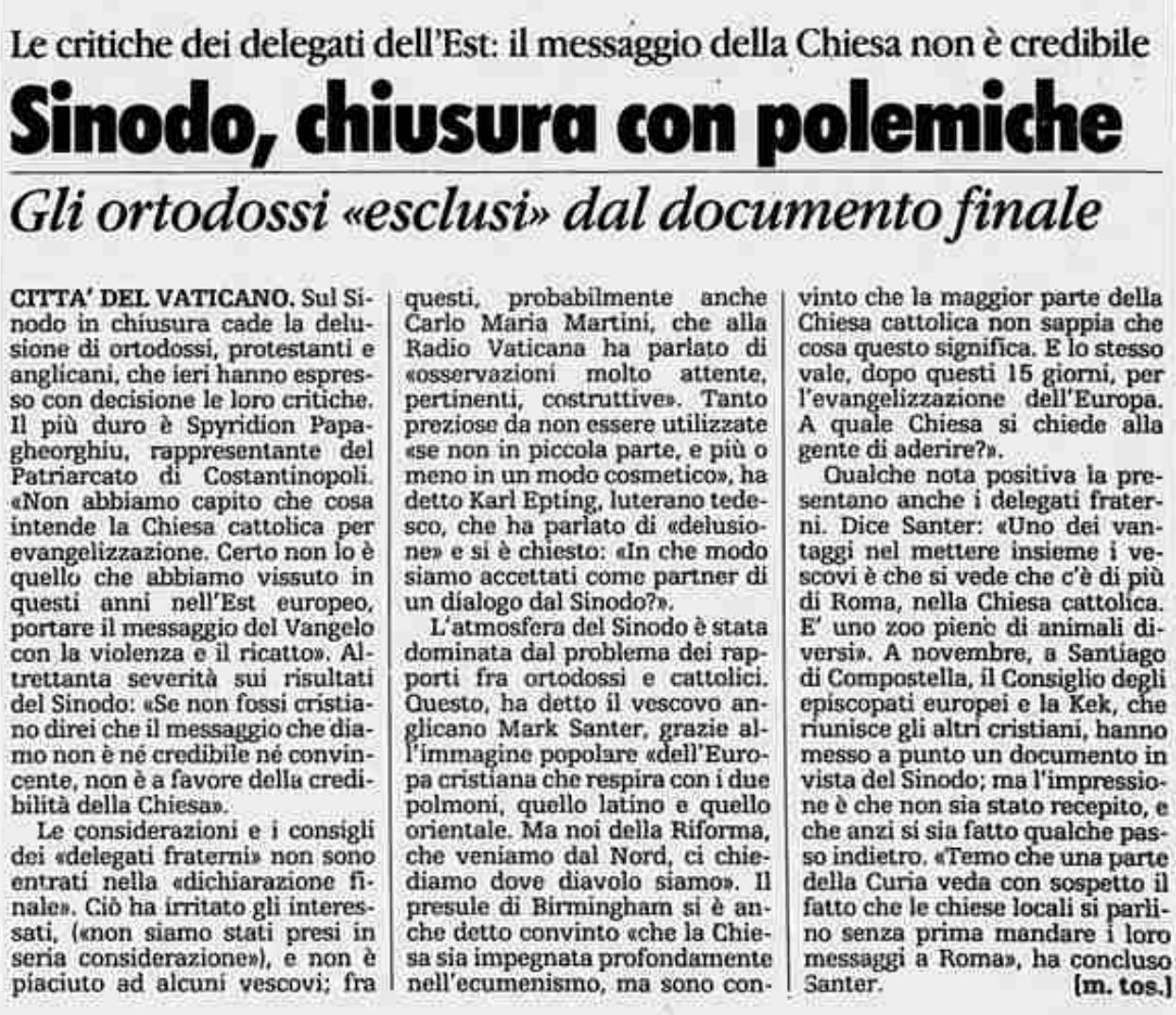 la stampa 14 dicembre 1991